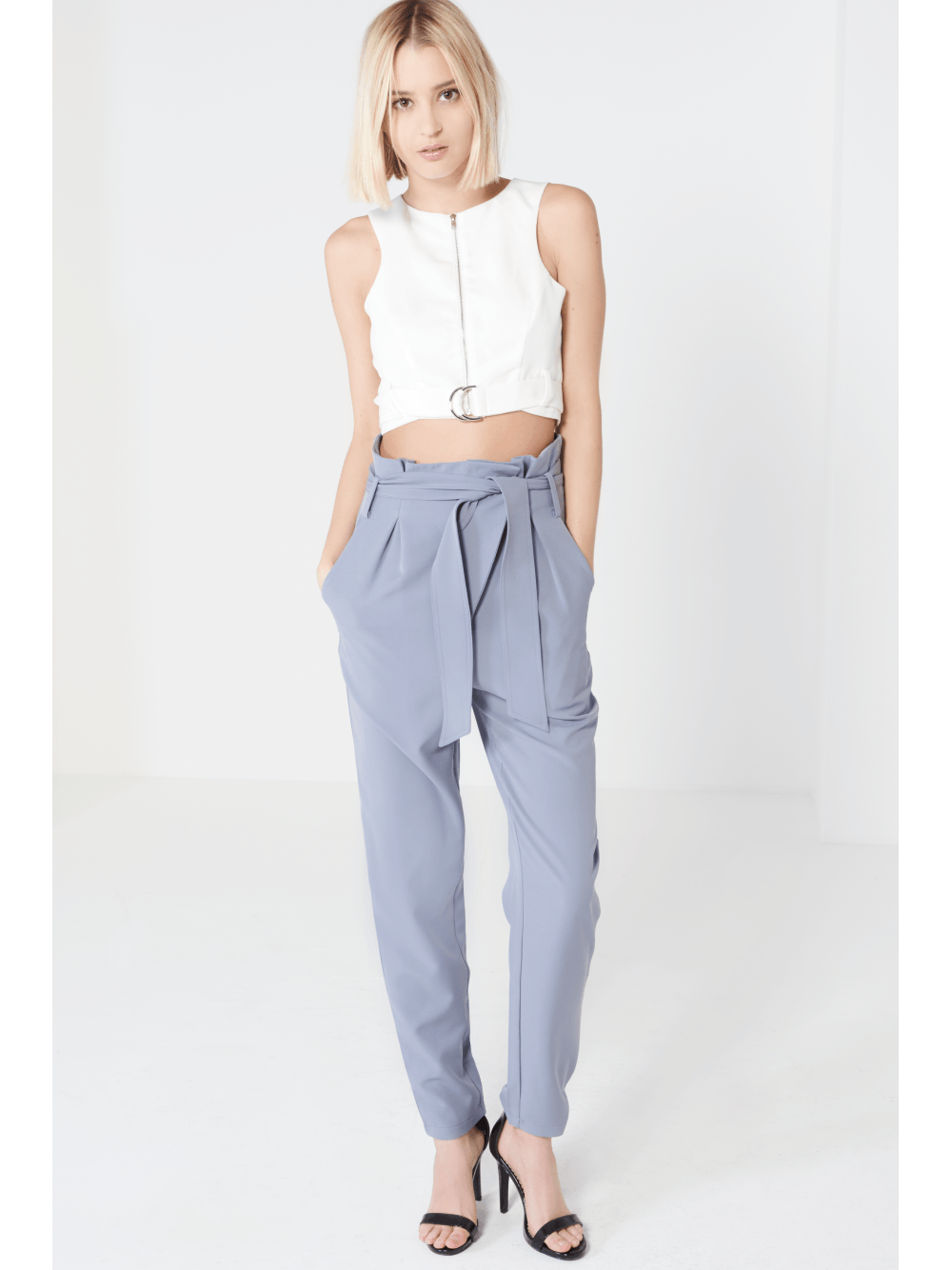Dusty Blue Paperbag Belted Trousers