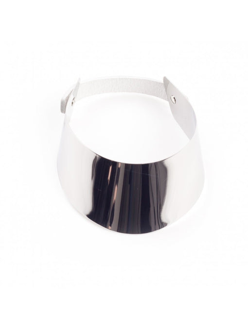 ALVA Oversized Mirror Polished Silver Leather Strap Collar