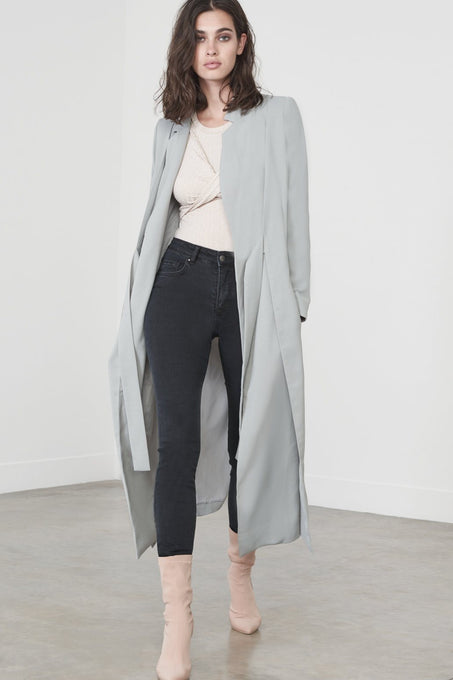 Tie-Front Duster Coat in Sage