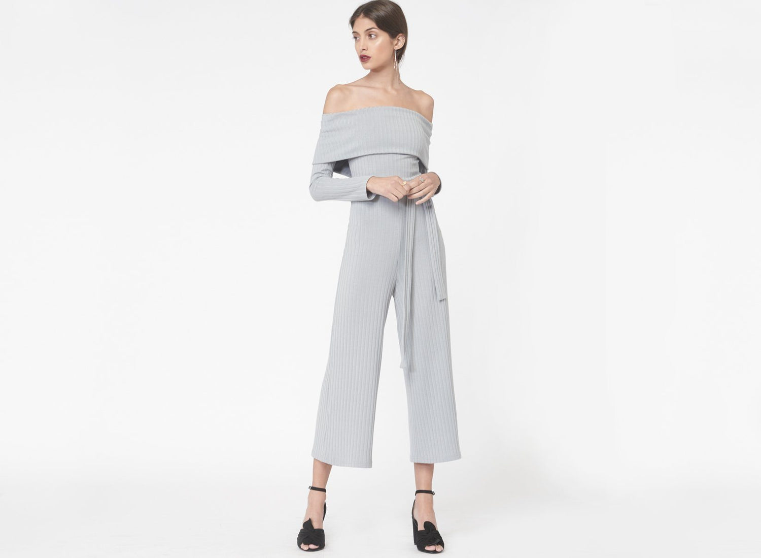 Strapless Rib Knit Cropped Jumpsuit in Dusty Blue