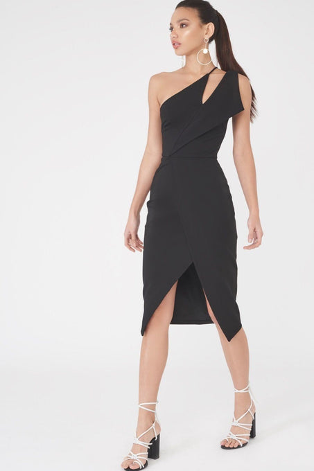 One Shoulder Midi Wrap Dress in Black