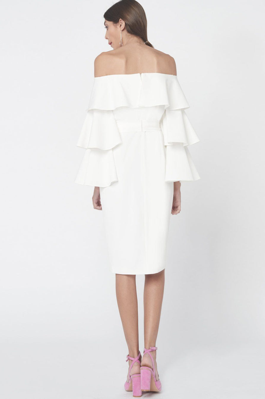 Ruffle Sleeve Bardot Dress in Off White