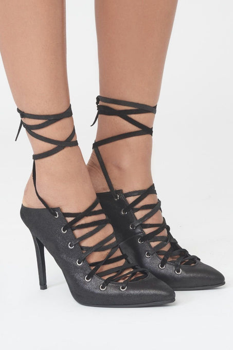 Lace Up Backless Stiletto Heels in Black Leather