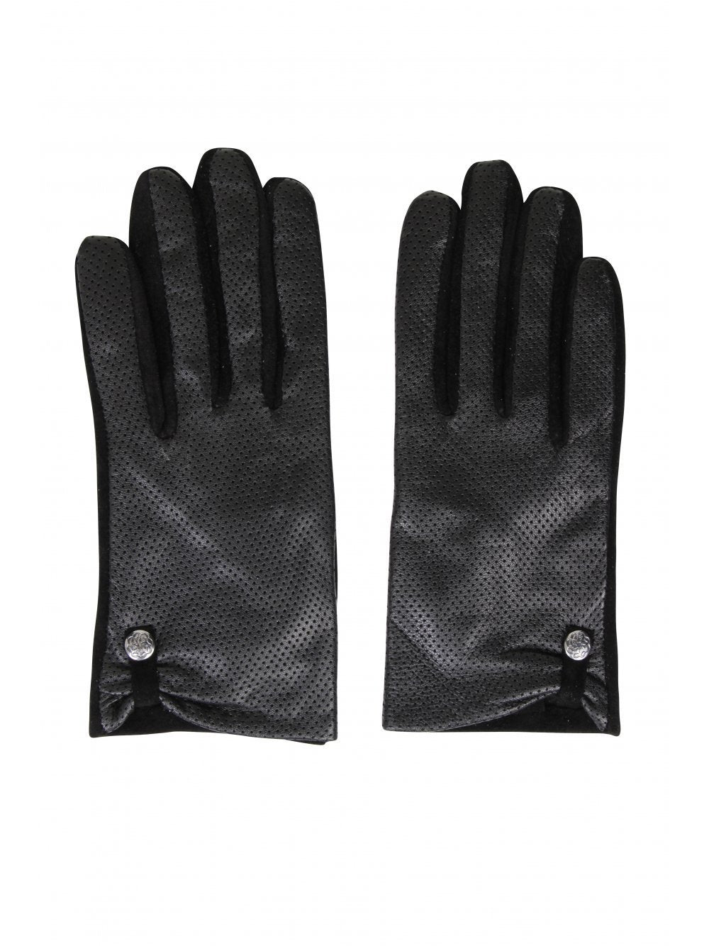 Black Perforated Leather & Suede Gloves