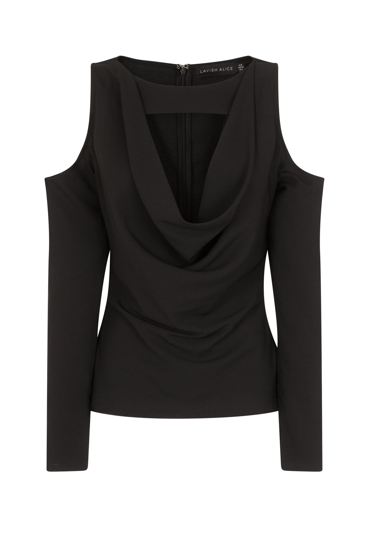 Cold Shoulder Cowl Neck Top in Black