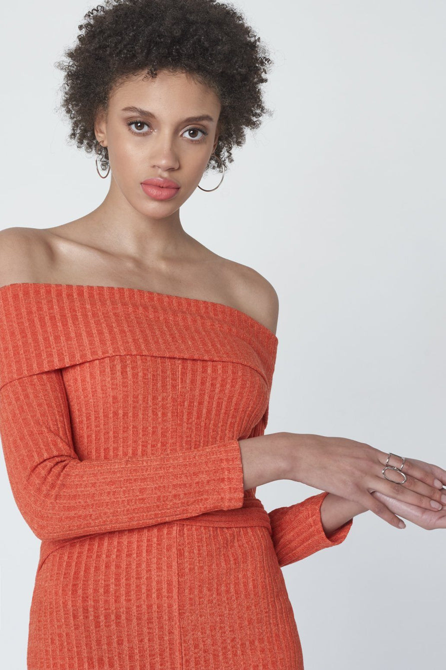 Criss Cross Strapless Dress in Flame Orange Knit