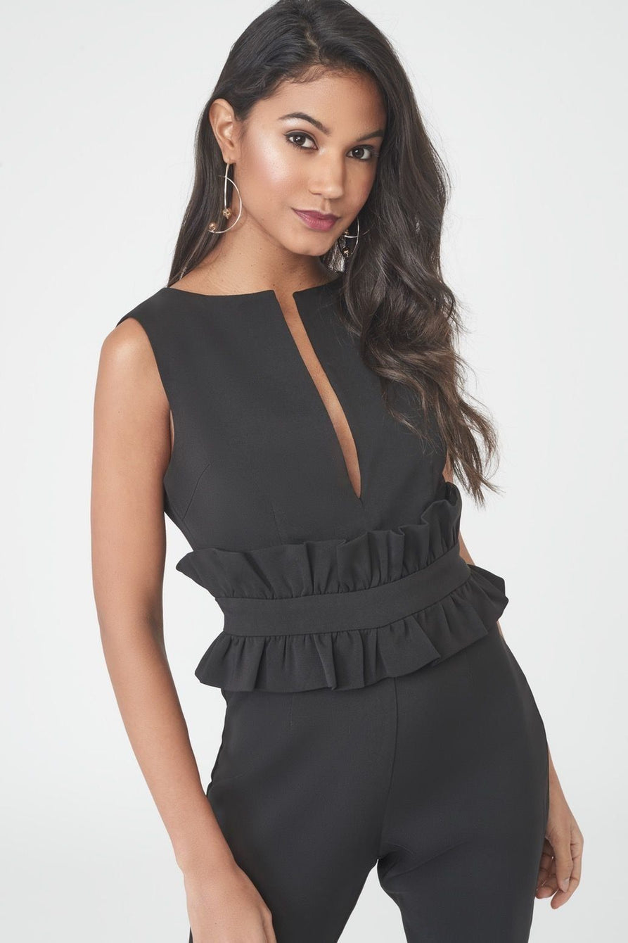 Deep Plunge Jumpsuit with Peplum Waist