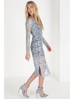Premium Grey Lace Long Sleeve Midi Dress