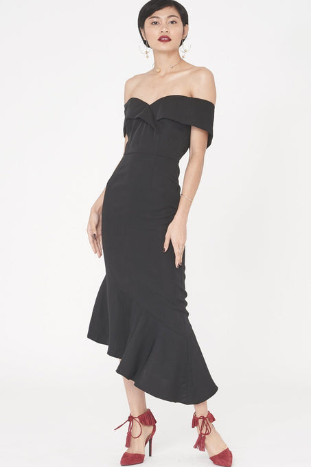 Woven Bardot Asymmetric Dress in Black