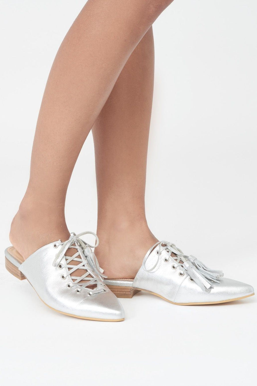 Silver Leather Lace-Up Mules