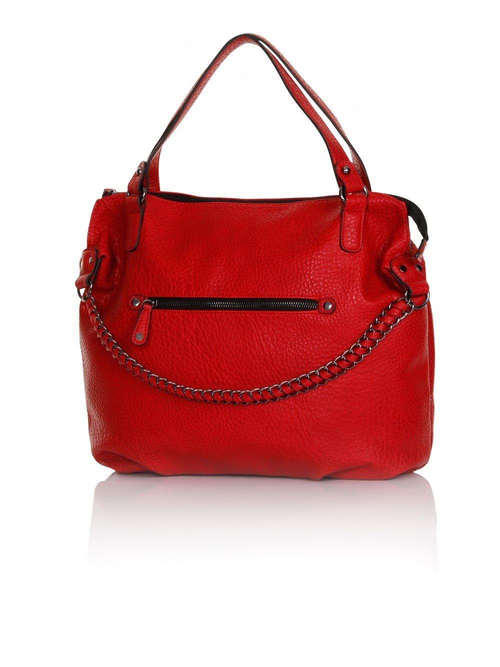 Red Chain Detail Oversized Tote Bag