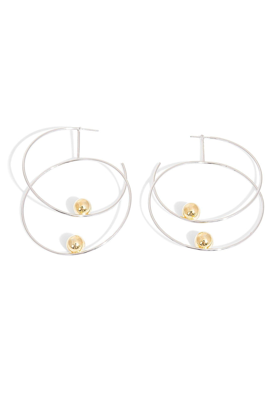 Sterling Silver Double Hoops with Gold Plated Beads