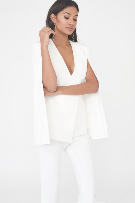 Asymmetric Hem Fitted Cape Blazer in White
