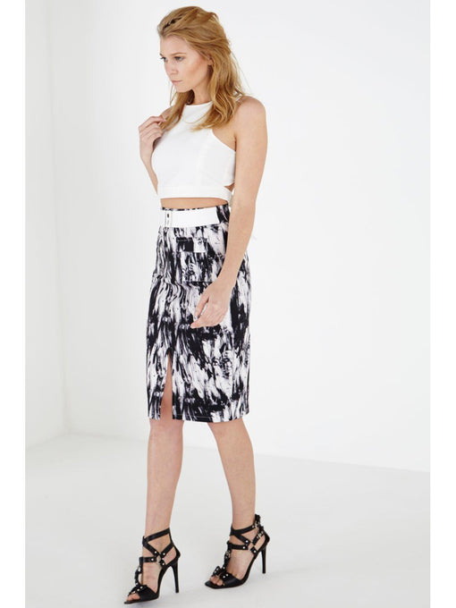 Abstract Print Utility Pencil Skirt