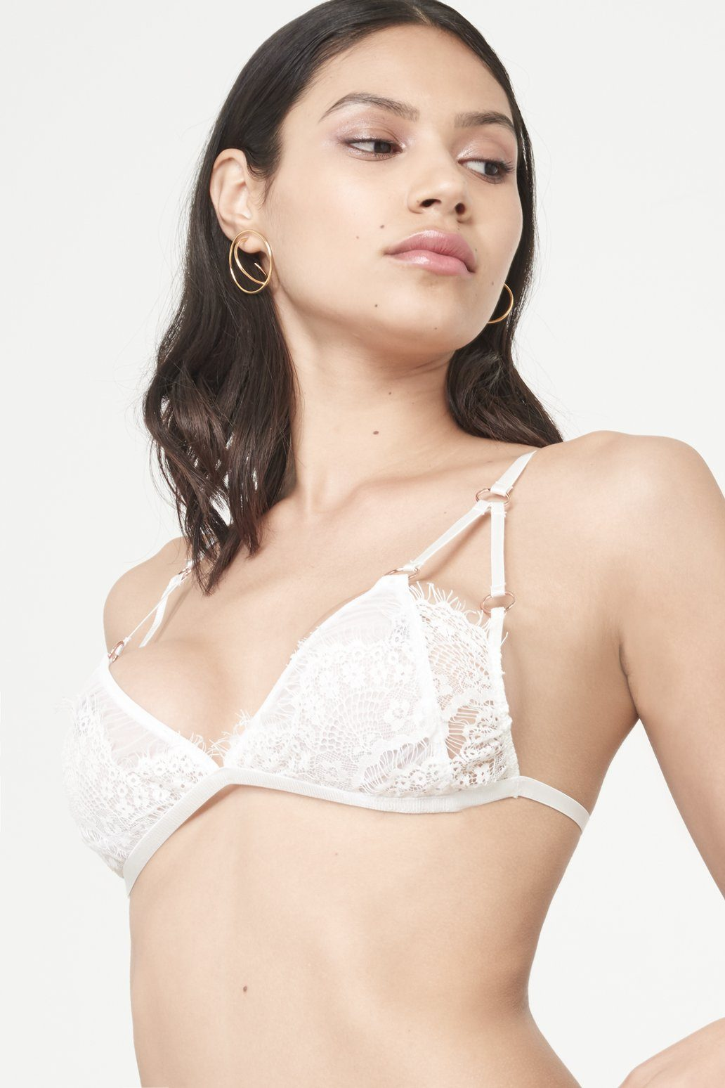 White Scallop Lace Mesh Overlay Triangle Bralet