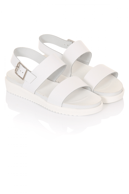 White Leather Wedge Sandals
