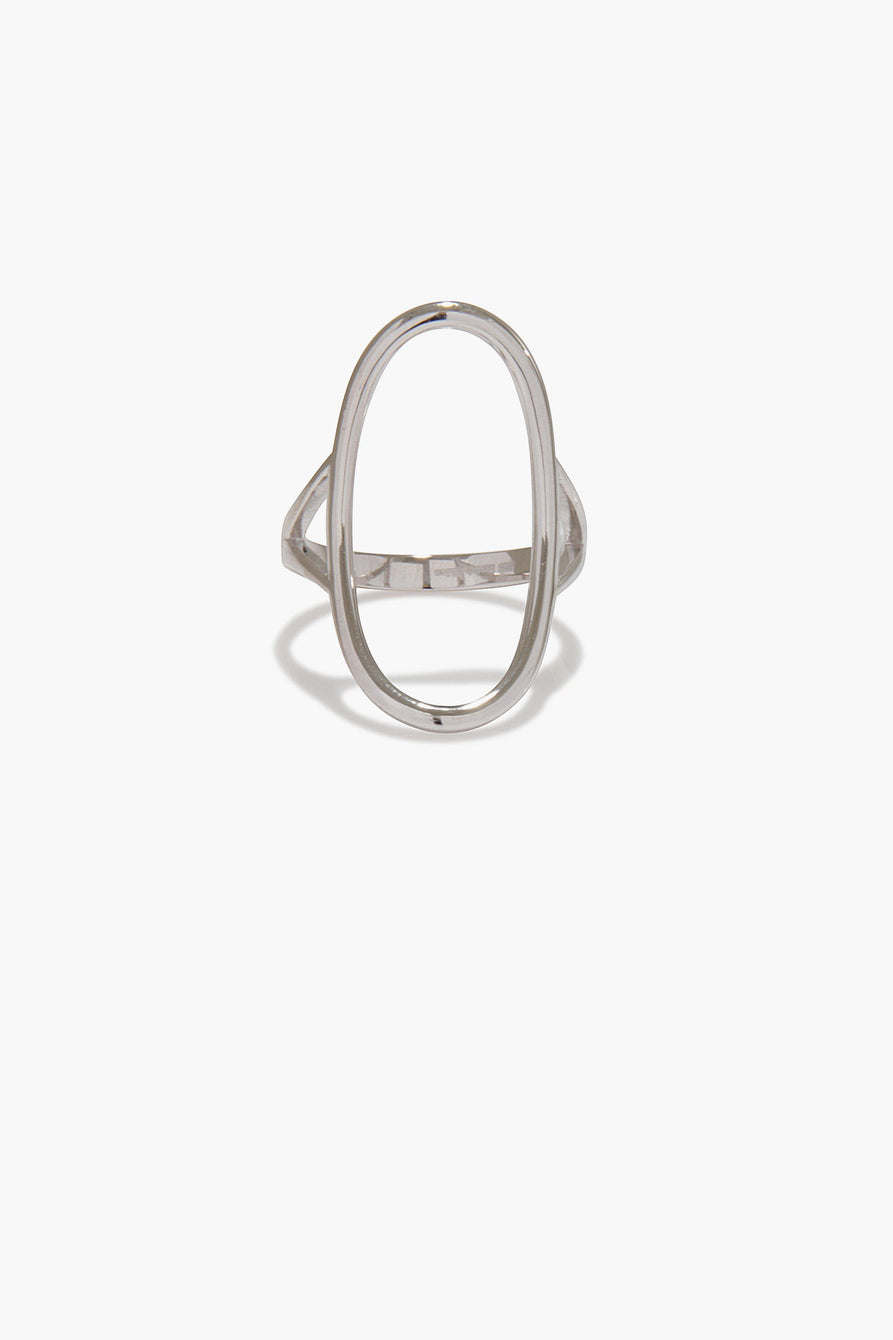Oval Frame Ring in Sterling Silver