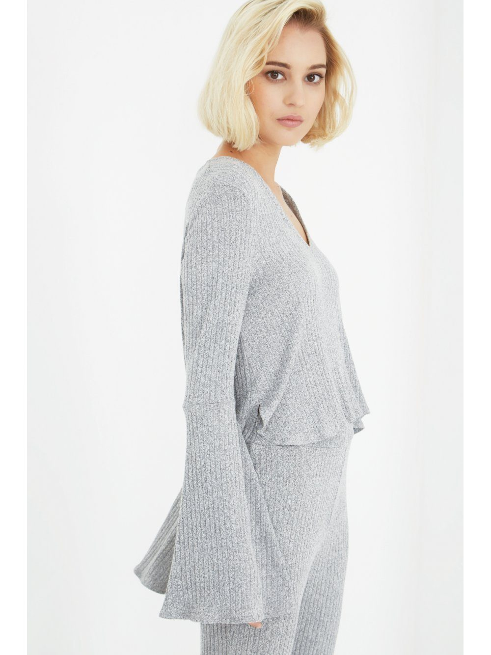Salt & Pepper Knit Plunge Bell Sleeve Top
