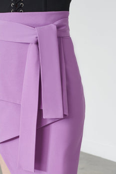Tie Front Asymmetric Skirt in Violet