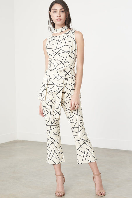 Cream & Black Abstract Print Kick Flare Cropped Trousers