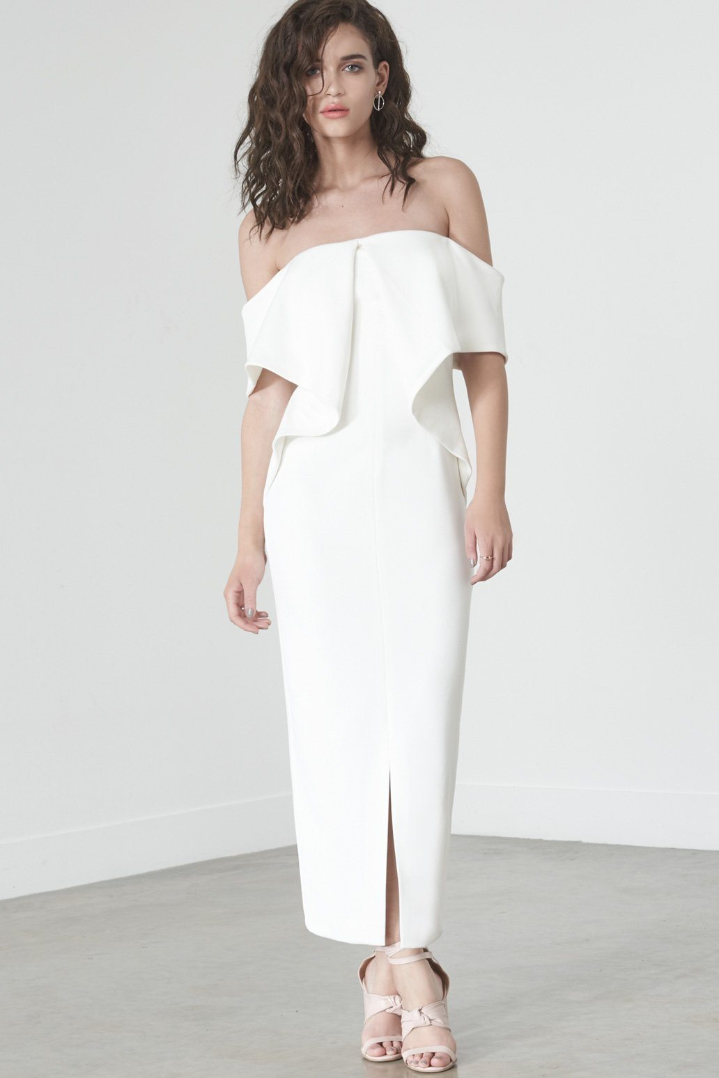 Drop Shoulder Origami Dress in Soft White