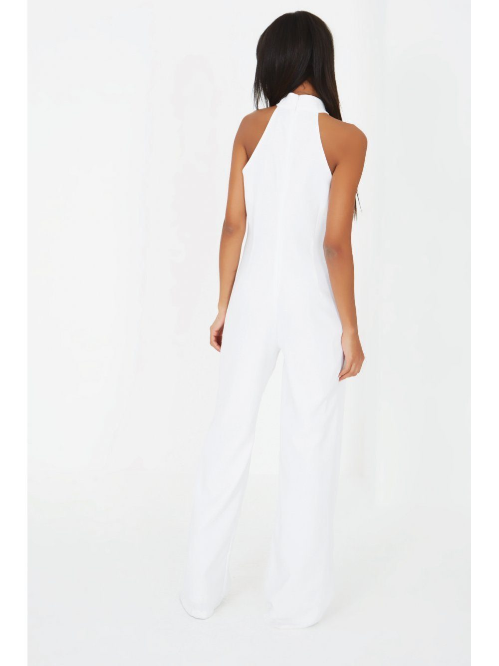 White Drape High Neck Relaxed Jumpsuit