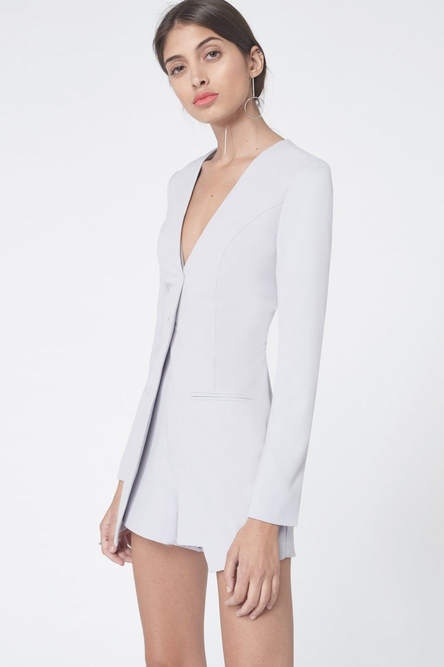 Collarless Tuxedo Style Playsuit in Dove Grey