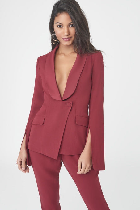 Fitted Blazer with Slit Sleeves