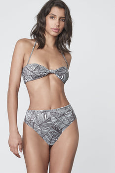 High Waist Bikini Bottoms in Monochrome Palm Print