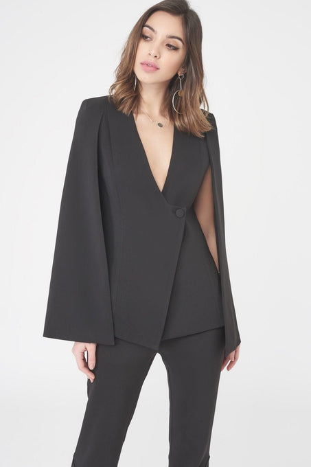 Asymmetric Hem Fitted Cape Blazer in Black
