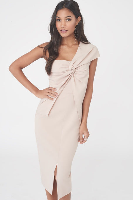 One Shoulder Twisted Midi Dress