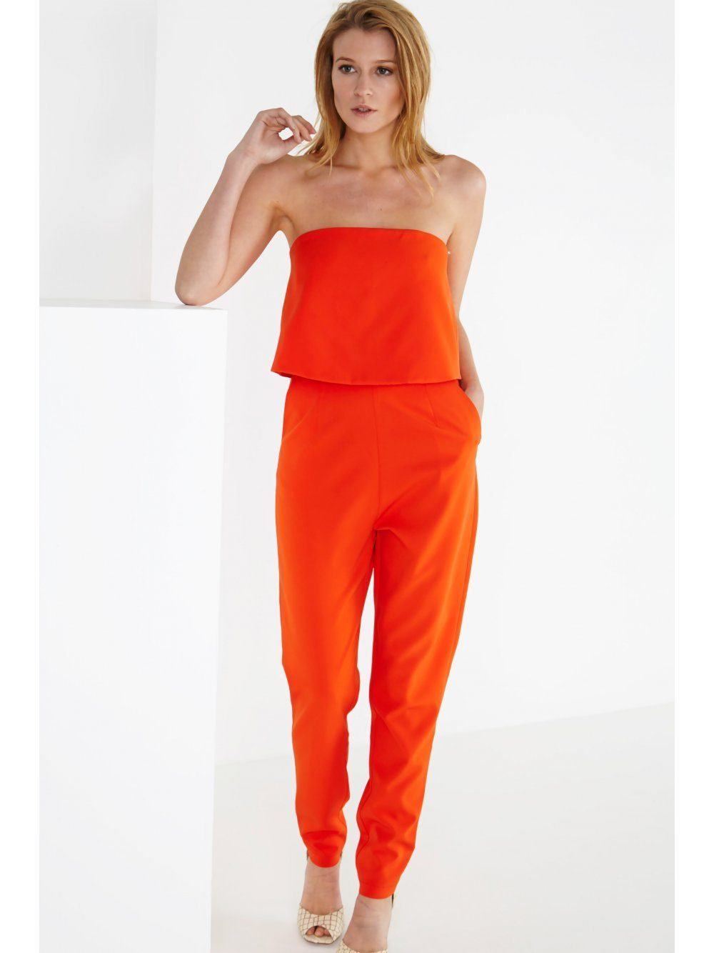 Orange Bandeau Split Back Cropped Jumpsuit