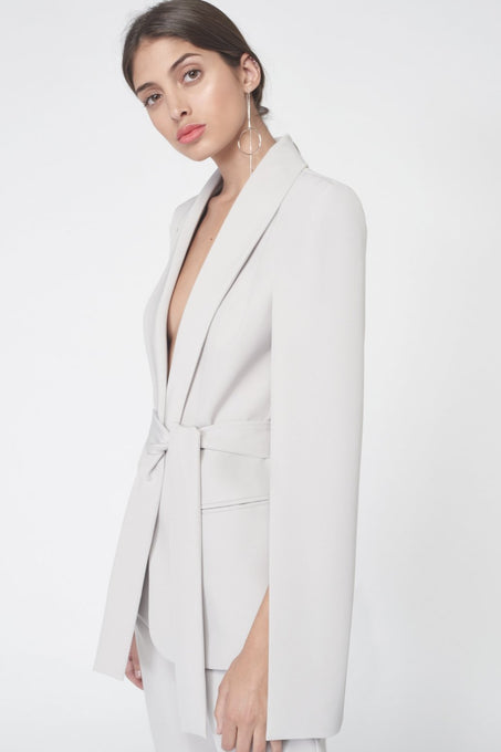 Tie Waist Tailored Cape Blazer in Grey