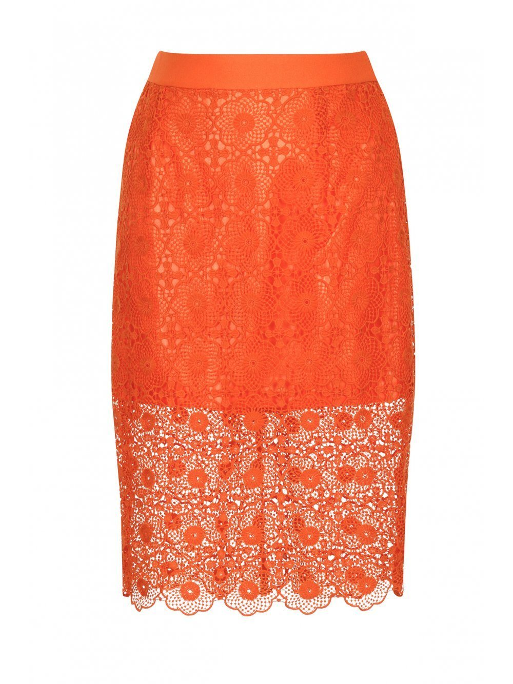 Orange Lace Pencil Skirt