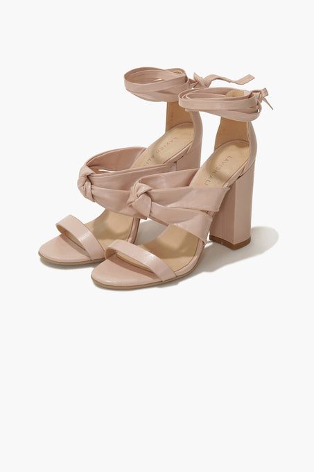 Knot Strap Sandals in Blush Leather