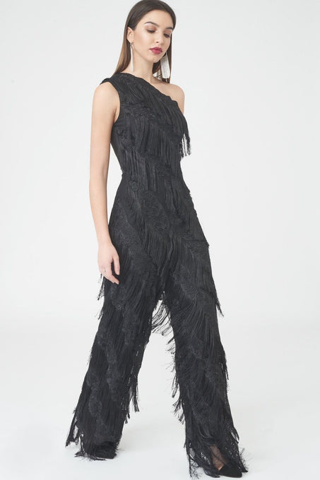 Black Fringed Lace Jumpsuit