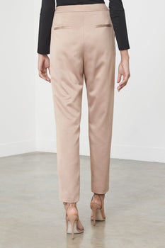 Camel Satin High Waisted Cigarette Trousers