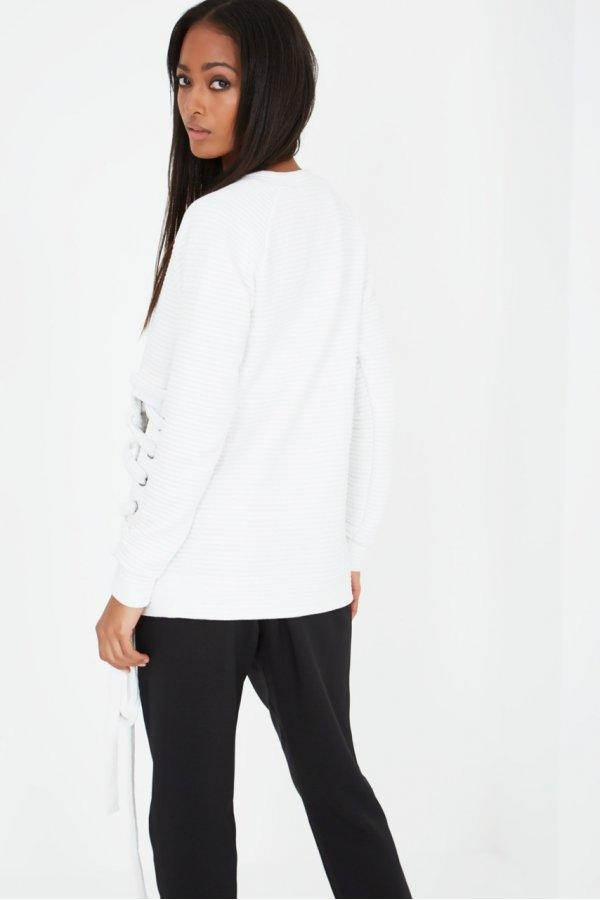 White Ribbed Lace Up Side Sweater