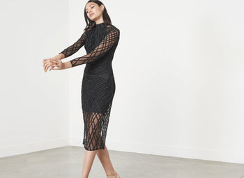 Black Cross Hatch Velvet Sequin Mesh High Neck Midi Dress