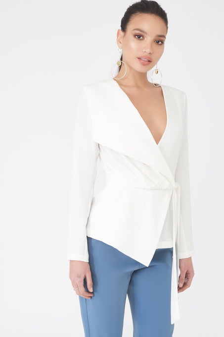 Asymmetric Folded Over Top in White