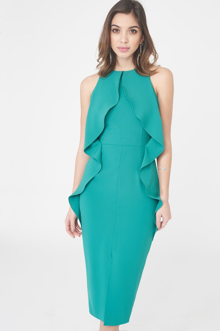 Woven Tiered Draped Midi Dress in Jade Green
