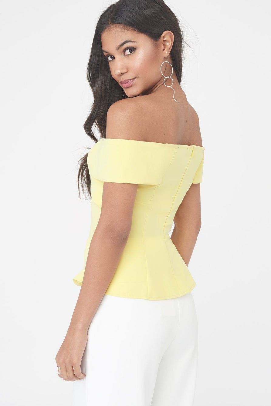Twist Bardot Top with Asymmetric Hem in Yellow