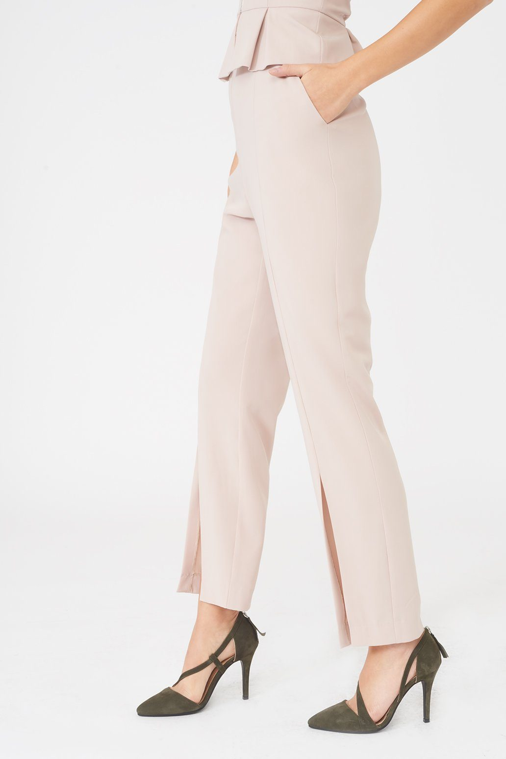 Tapered Trouser with Front Split in Nude