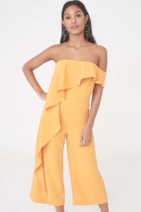 Bardot Asymmetric Draped Culotte Jumpsuit in Tangerine Orange