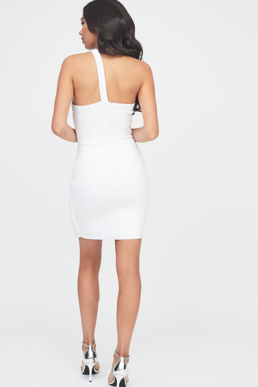 Ponte One Shoulder Fold Detail Dress