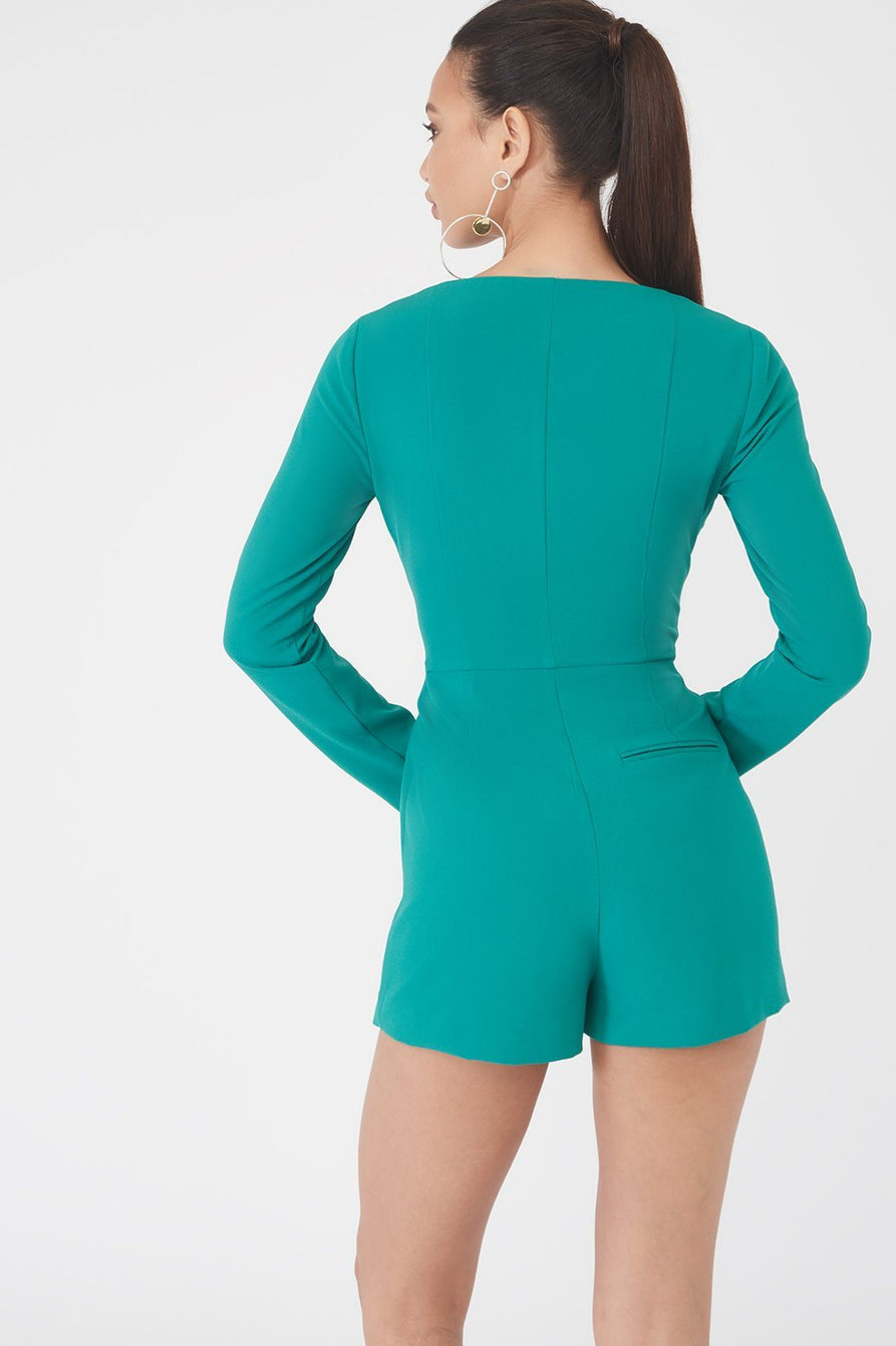 93c72853ba7a Off The Shoulder Double Breasted Blazer Style Playsuit in Jade Green ...