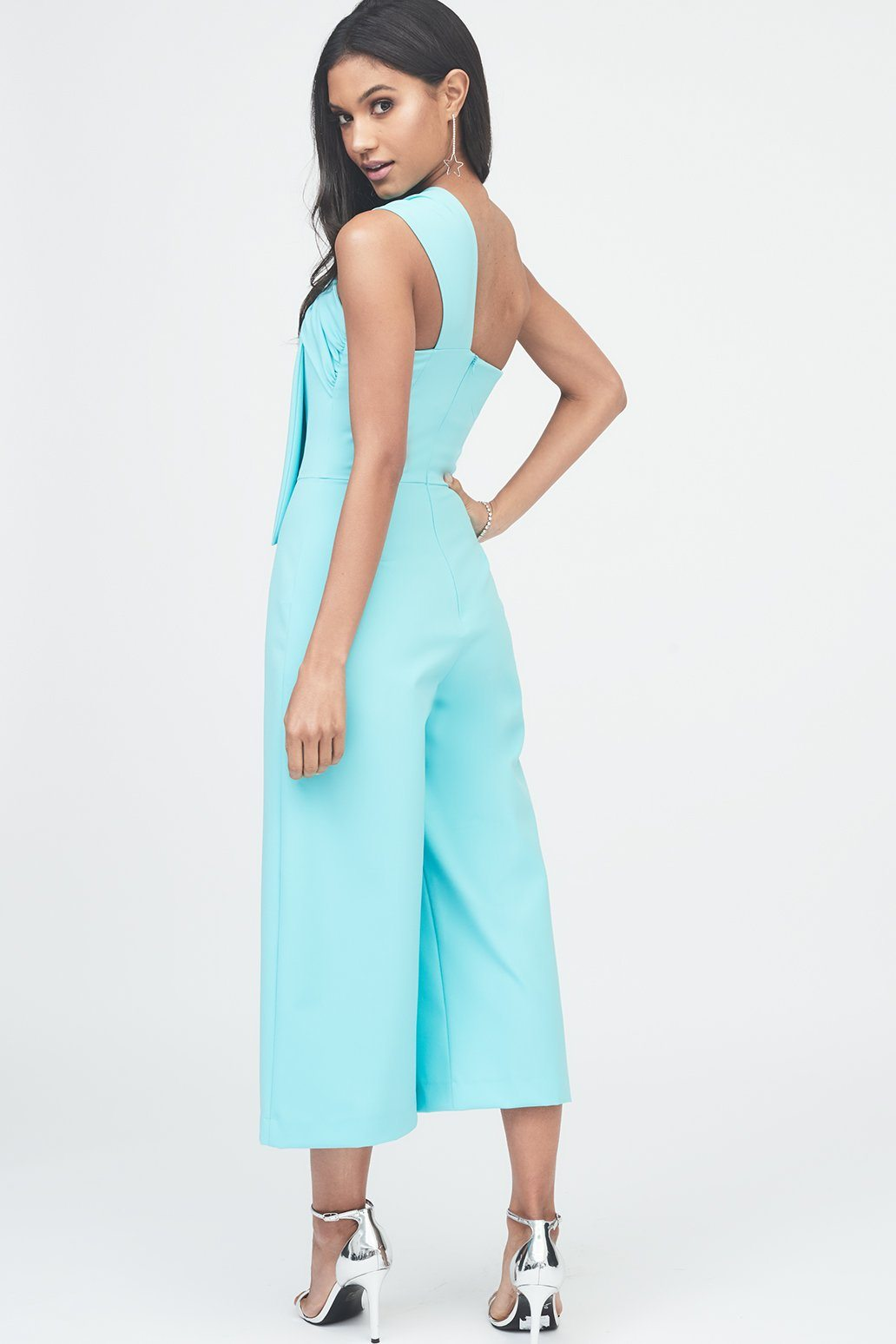 Twisted One Shoulder Wide Leg Culotte Jumpsuit