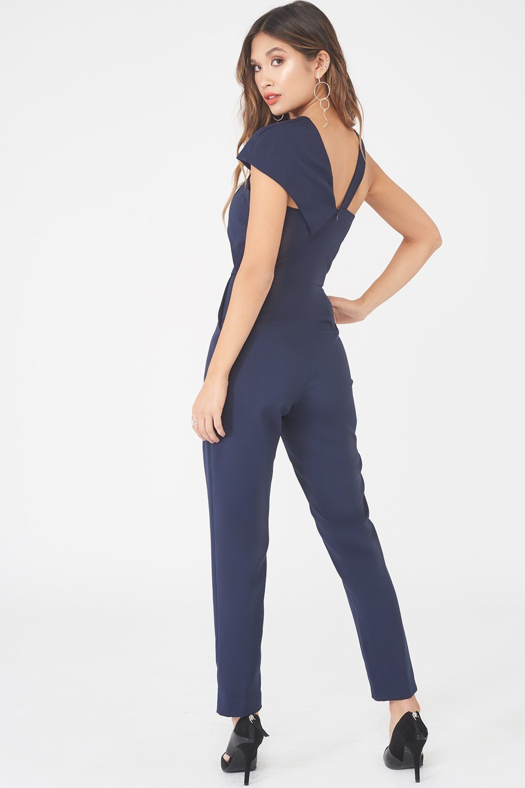 Asymmetric Twist Detail Tapered Jumpsuit in Navy