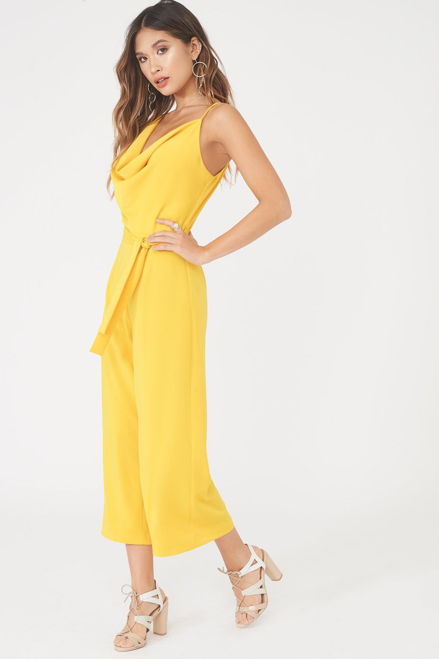 Cowl Neck Culotte Jumpsuit in Yellow