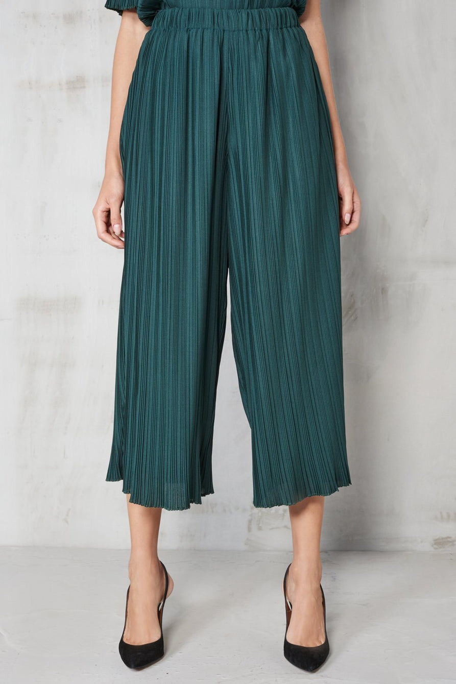 Forest Green Pleated Culottes